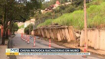 Parte de rua é interditada por risco de desabamento de muro no Mangabeiras, em BH