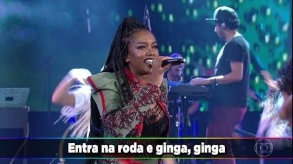 Iza canta 'Ginga' no 'Domingão'