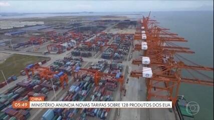 Ministério de finanças da China anuncia novas tarifas de importação de produtos americanos