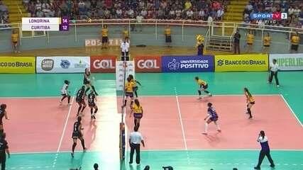 Após rali, jogadora do Londrina toca na rede e Curitiba fica com o ponto