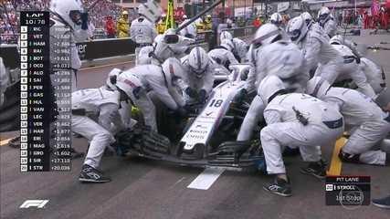 Stroll para nos boxes para pit stop em Mônaco