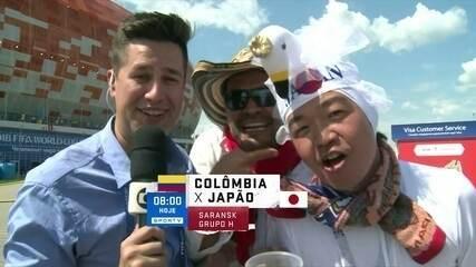 Torcedores de Colômbia e Japão brilham muito em link ao vivo no Planeta SporTV