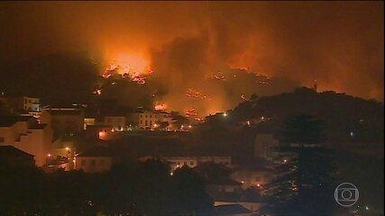 Incêndio florestal preocupa autoridades, em Portugal