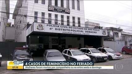 Quatro casos de feminicídio são registrados em 3 dias