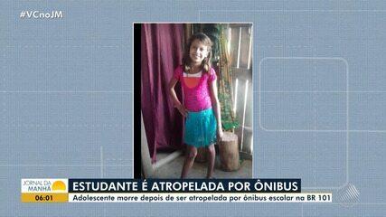Luto em Itabela: estudante de 12 anos morre atropelada por ônibus na BR-101