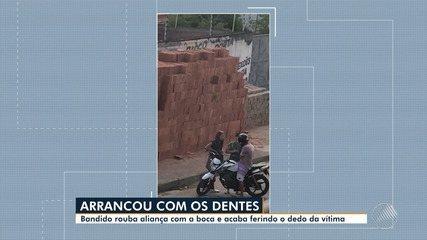 Violência em Feira: bandido usa a boca para arrancar aliança de vítima durante assalto