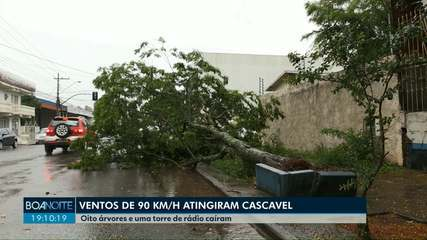 Ventos de quase 90 km/h são registrados em Cascavel