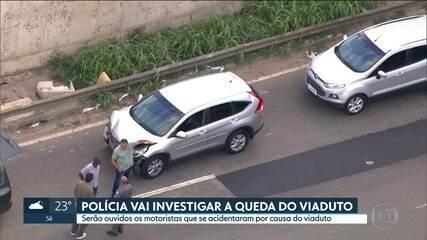 Polícia investiga queda do viaduto