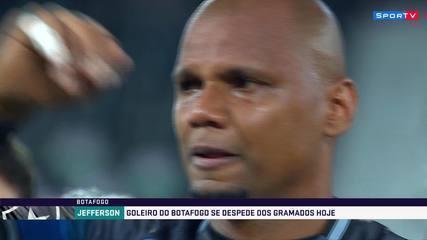 Jefferson se emociona com homenagem no Nilton Santos antes de sua despedida do Botafogo