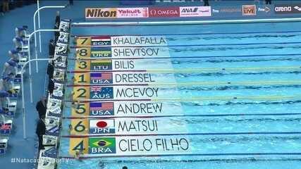 César Cielo termina em quarto na semifinal 2 dos 50m livre no mundiald e piscina curta