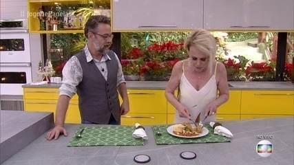 Ana Maria Braga experimenta o prato principal de Márcio
