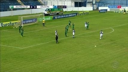 Com três gols de Popó, Cruzeiro goleia o Rio Preto e avança às quartas de final da Copinha