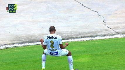Gol do Santos! Luiz Felipe sobe bem e desvia de cabeça, aos 45 do 1º tempo