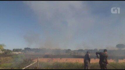 Incêndio de grande proporção atinge área de Ilha Comprida.