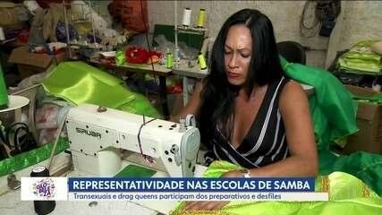 Transexuais e drag queens participam dos preparativos e desfiles no Carnaval de São Paulo