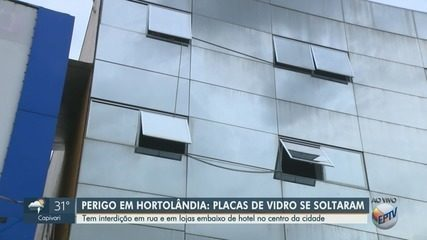 Placas se soltam de prédio e fazem rua ser interditada em Hortolândia