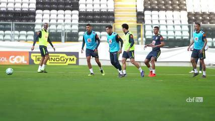Veja os bastidores do primeiro treino da Seleção Brasileira em Portugal