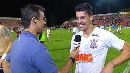 """Dono do único gol da partida, Danilo Avelar fala da vitória do Corinthians: """"O time todo está de parabéns"""""""