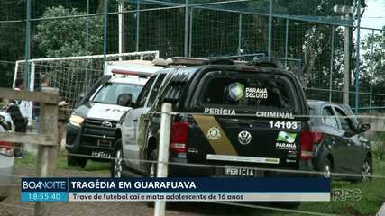 Trave de futebol cai e mata adolescente de 15 anos, em Guarapuava