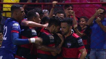 O gol de Atlético-GO 1 x 0 Santos pela terceira fase da Copa do Brasil