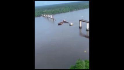 Vídeo do Governo do Pará mostra como ficou a ponte sobre o rio Moju