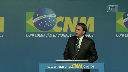 Bolsonaro discursou em evento da Confederação Nacional dos Municípios, em Brasília