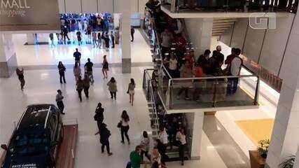 Vídeo mostra evacuação de clientes durante incêndio em shopping em Natal