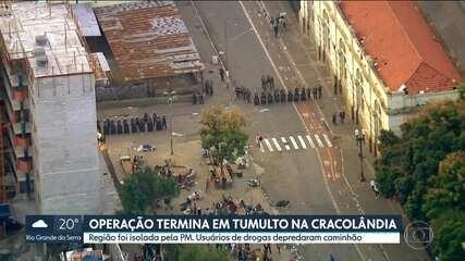 Operação termina em tumulto na Cracolândia