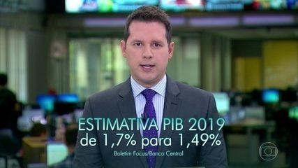 Estimativa para PIB cai de 1,7% para 1,49%, segundo economistas ouvidos pelo Banco Central