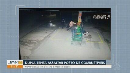 Frentista reage assalto e joga combustível em assaltante no Amazonas