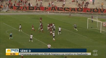 Assista aos lances do empate entre Campinense e ASA