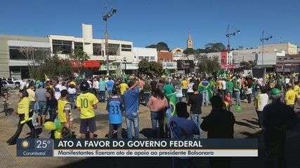 Manifestantes realizam ato em apoio ao presidente Jair Bolsonaro na região