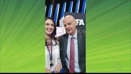 Junto com Michelle Ramalho, presidente Gianni Infantino parabeniza Nacional de Pombal pelos 30 anos de fundação