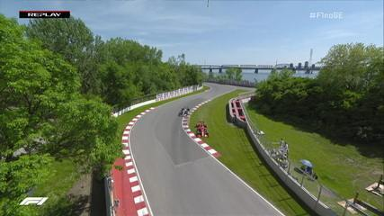 Vettel erra, vai no canteiro, mas consegue voltar a tempo de segurar primeira colocação