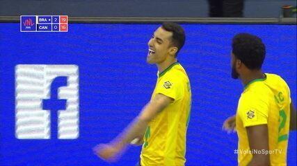 3º set: Que ponto! Brasil não deixa a bola cair e em seguida bloqueio funciona 20/16