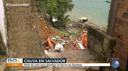 Chuva causa o desabamento parcial de uma casa no bairro da Gamboa