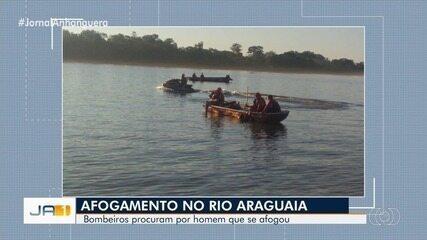 Bombeiros buscam por homem que se afogou no Rio Araguaia