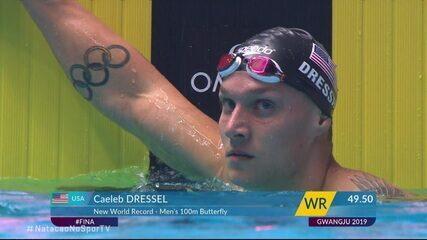 Caeleb Dressel vence a segunda série dos 100m borboleta masculino e bate o recorde mundial