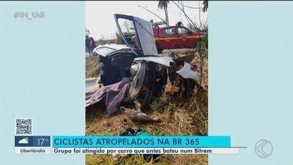 Três pessoas morrem em acidente envolvendo carro, carreta e ciclistas na BR-365