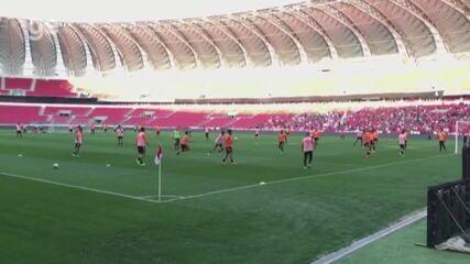 Inter realiza último treino antes do jogo contra o Flamengo com portões abertos