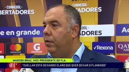 """Marcos Braz fala sobre situação de Cuellar: """"Está deixando claro que quer deixar o Flamengo"""""""