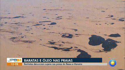 Baratas e óleo são encontrados em praia de João Pessoa