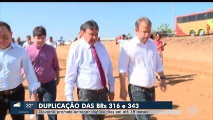 Governador visita obras de duplicação da BR-316 e promete conclusão em 18 meses