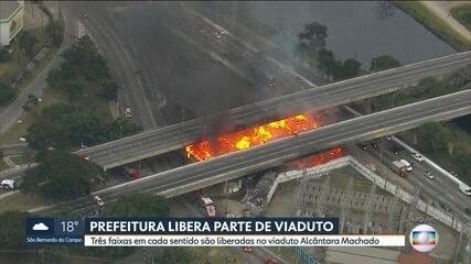 Viaduto Alcântara Machado é liberado parcialmente após incêndio