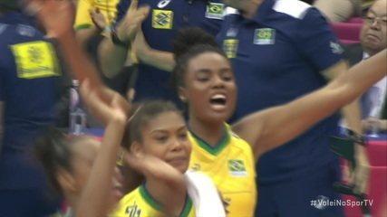 Pontos finais de Brasil 3 x 0 Argentina pela Copa do Mundo de vôlei Feminino