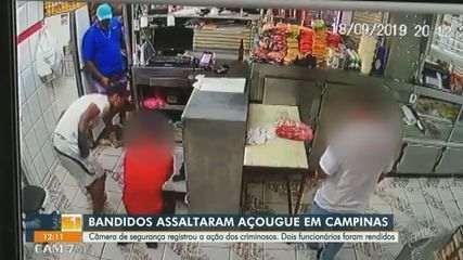 Câmera de segurança registra assalto a mão armada em açougue de Campinas