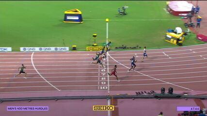 """Alisson dos Santos fala sobre desempenho na final dos 400 metros com barreira: """"Foi uma prova incrível. Fico muito feliz, mas saio com gostinho de quero mais"""""""