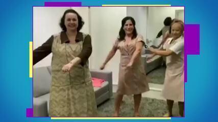 Gloria Pires, Kelzy Ecard e Virgínia Rosa se divertem nos bastidores de 'Éramos Seis'