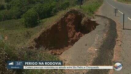 Cratera preocupa motoristas na estrada entre São Pedro e Charqueada