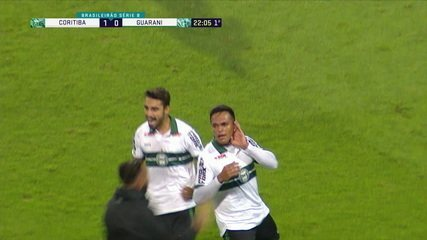 O gol de Coritiba 1 x 0 Guarani pela 27ª rodada da Série B do Brasileiro